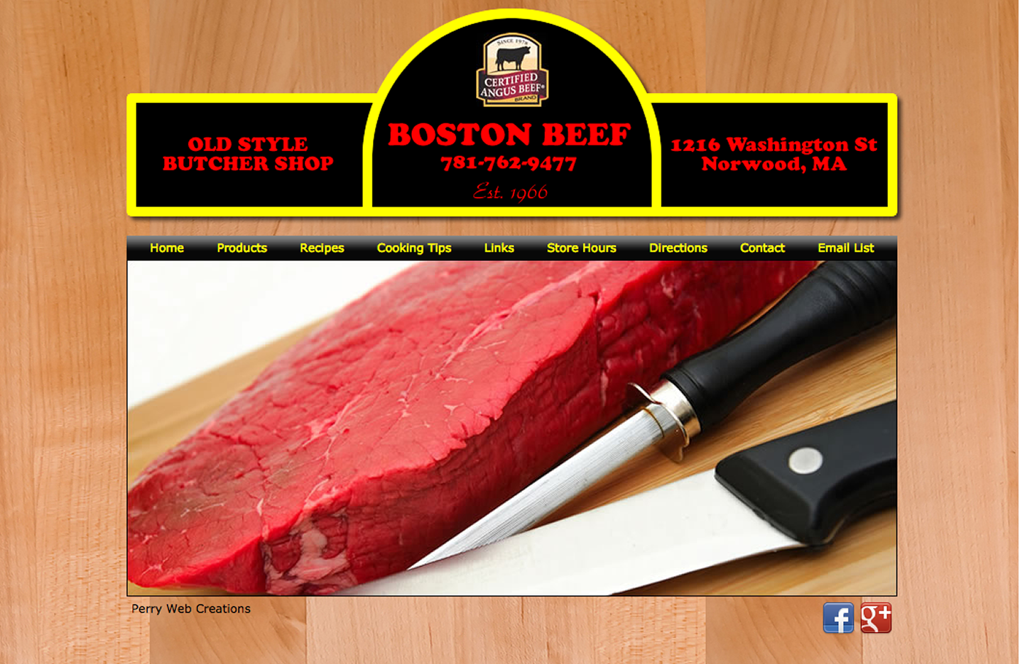Perry Web Creations - Portfolio Item - Boston Beef